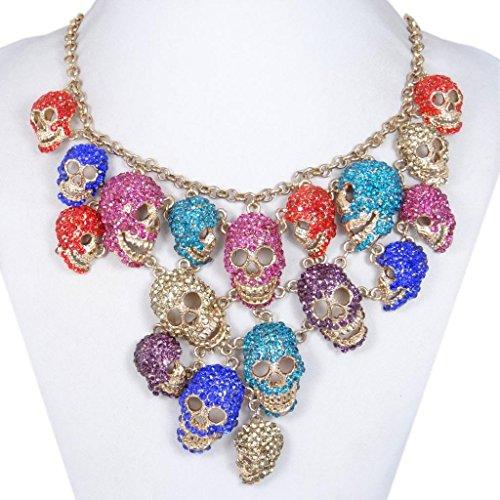 EVER FAITH® Cristal Halloween Beaucoup de Crâne Statement Collier - Multicolore-Ton d'Or N00904-2
