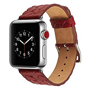 Genuine Cow Leather Embossed Woven Strap Bracelet Men/women watchband for apple watch Series 1/2/3 38/42mm Size (Red, 42mm)