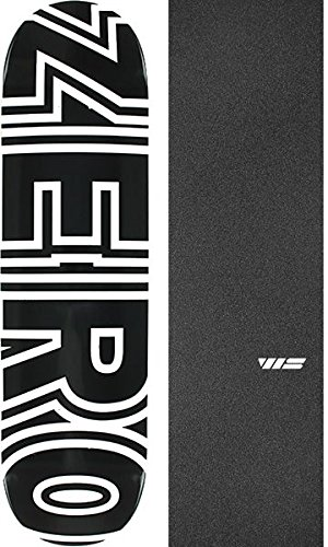"Zero Skateboards Bold Black/White Skateboard Deck - 8"" x 31.6"" with Jessup WS Die-Cut Black Griptape - Bundle of 2 Items"