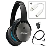 Bose QuietComfort 25 Acoustic Noise Cancelling Headphones for Apple Devices - Black w/ Lightenning to 3.5mm Adapter - Bundle