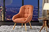Accent Chair for Living Room, Upholstered Linen Chairs with Tufted Button Detailing and Natural Wooden Legs (Orange)
