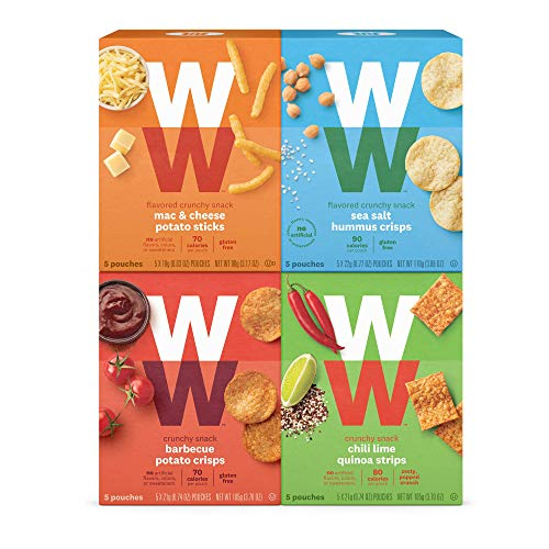(WW Savory Crunchy Snack Variety Pack - Barbecue, Chili Lime, Mac & Cheese & Sea Salt Hummus, 2 SmartPoints, 5 of Each Flavor (20 Count Total) - Weight Watchers Reimagined)