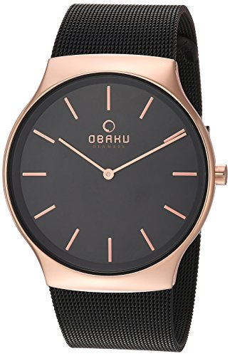 Obaku Men's Quartz Stainless Steel Dress Watch, Color:Black (Model: V178GXVBMB)