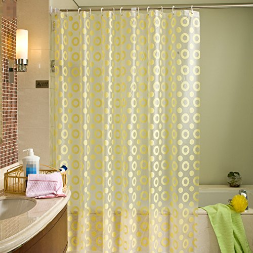 50OFF BAIHT HOME Yellow Circle Distribution Home Decor Shower Curtain Liners Mildew Resistant PVC
