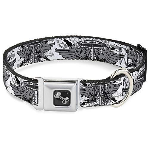 Buckle-Down Seatbelt Buckle Dog Collar - Phoenix Shield White - 1
