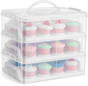 White 3 Tier Cupcake Carrier Holder with Portable Hanlde Plastic Food Storage Container for 36 Cupcakes/Cookies or 3 Large Cakes Pastry
