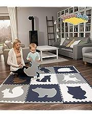 Hakuna Matte grote puzzelmat voor baby's 1,8x1,8m – 9 XXL Tegels 60x60cm met dieren – 20% dikkere speelmat in een milieuvriendelijke verpakking – reukloos baby speelkleed zonder schadelijke stoffen