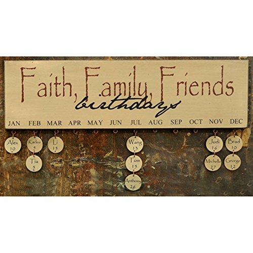 - Hearthside Collection Faith Family Friends Birthday Calendar - Burgundy