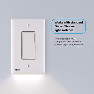 2 Pack - SnapPower SwitchLight - LED Night Light - for Single-Pole Light Switches - Light Switch Plate with LED Night Lights - Adjust Brightness - Auto On/Off Sensor - (Rocker, White)
