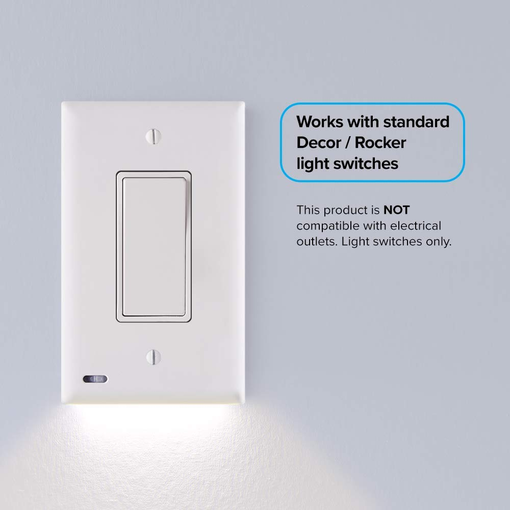 1 Pack - SnapPower SwitchLight - LED Night Light - For Light Switches - Light Switch Wall Plate With Built-In LED Night Lights - Bright/Dim/Off Options - Automatically On/Off Sensor - (Rocker, White)