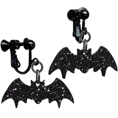 Glittery Black Bat Clip On Ear