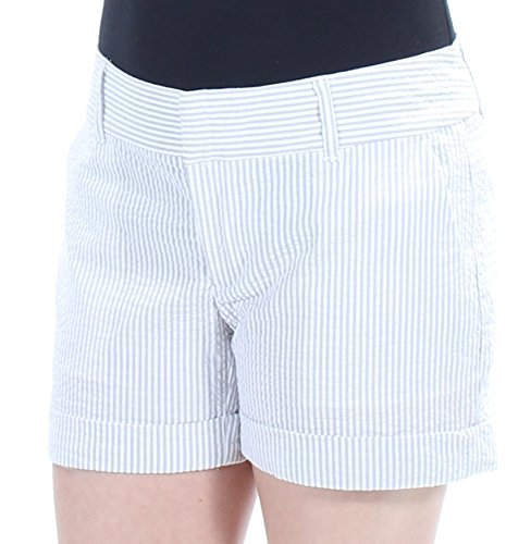 - Maison Jules Maddie Pinstripe Seersucker Shorts (0, Grey Combo)