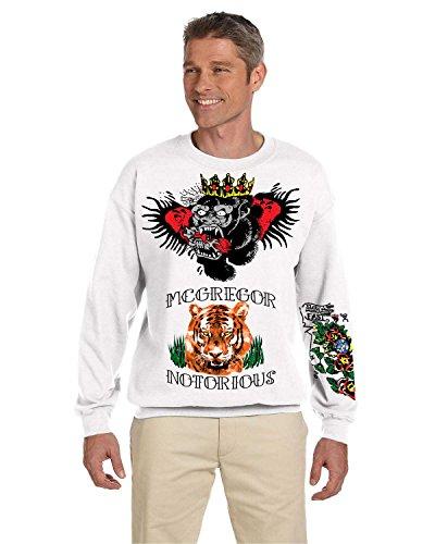 Allntrends Men's Sweatshirt Conor Mcgregor Tattoos Inspired Cool Top (M, White)