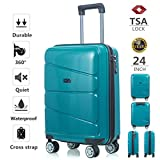 Hardside Spinner Luggage 24 inch 1 Pieces TSA Lock Lightweight Suitcase Carry On Blue Review