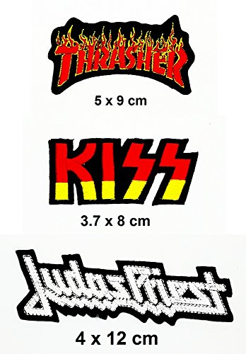 Diy Priest Costume (Rock Heavy Music_Set Red Thrasher Red Kiss And White Judas Priest Music Metal Punk rock patch Iron on Logo Vest Jacket cap Hoodie Backpack Patch Iron On/sew on patch)