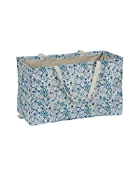 "Household Essentials 2213 Krush - Bolsa de Lona Multiusos, Reutilizable, Color Beige, Floral, Blanco, 22"" L x 11"" W x 13"" H, 1"
