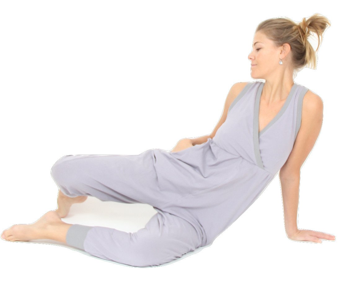 Prancing Leopard Women's Casual Yoga Jumpsuit ''Toulouse'' in Organic Cotton - S - Silver Grey