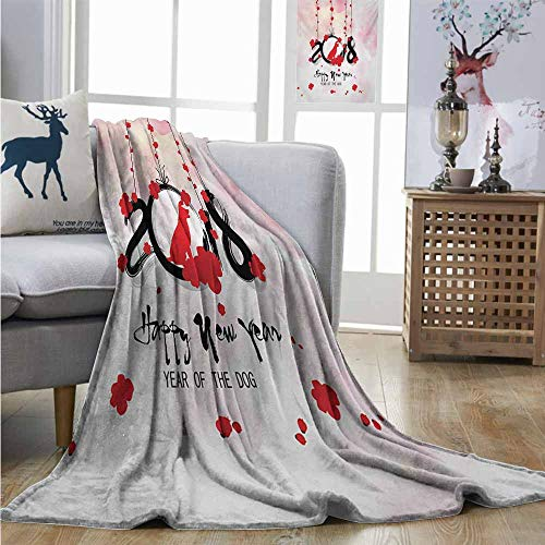 Homrkey Cozy Blanket Year of The Dog Brush Calligraphy New Year with Cherry Blossom Silhouettes Charisma Blanket W51 xL60 Vermilion Black Pale Pink ()