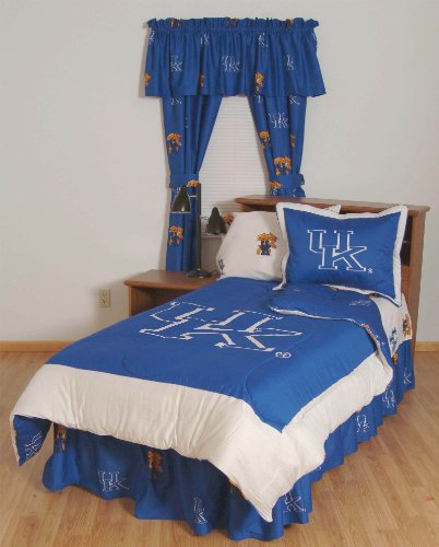 (Kentucky Wildcats (3) Piece KING Size Reversible Comforter Set and Matching Window Curtain Valance - Entire Set Includes: (1) KING Size Reversible Comforter, (2) Pillow Shams and (1) Matching Window Curtain Valance - Save Big By Bundling!)