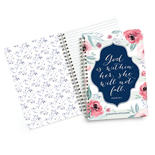 Custom Scriptures Notebook Personalized Stationery - 50 lined pages- Durable cover and spiral bound. Size: 5.5x8. Made in the USA. by Canopy Street