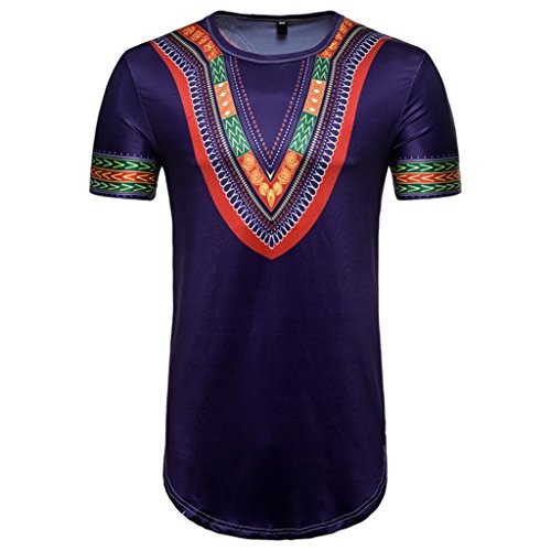 GREFER Men's Summer Casual African Print O Neck Pullover Self-cultivation Short Sleeve T-Shirt Long Section Top Blouse (L, Purple)