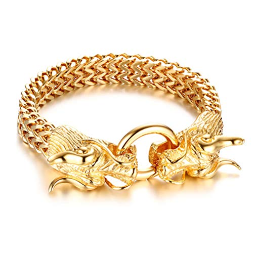 Double Bracelet Dragon - Fashion Month Stylish Chinese Dragon Head Closure Chunky Double Curb Chain Bracelet for Men Gold Color Stainless Steel Male Punk Jewelry
