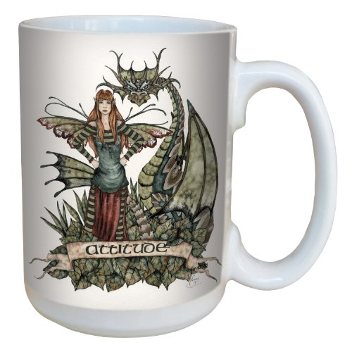 Tree-Free Greetings lm43536 Fantasy Fairy and Dragon Attitude Ceramic Mug with Full Sized Handle by Amy Brown, 15-Ounce