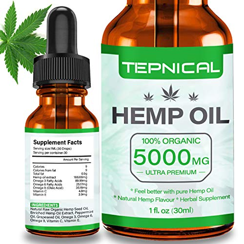 Hemp Oil with 5000mg of Organic Hemp Extract for Pain, Anxiety & Stress Relief – 100% Natural Hemp Oil Drops, Helps with…