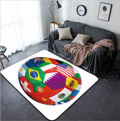 Vanfan Design Home Decorative 66635386 Soccer ball with world flags isolated on white Modern Non-Slip Doormats Carpet for Living Dining Room Bedroom Hallway Office Easy Clean Footcloth by vanfan