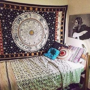 Hippy Mandala Boh/ème Zodiaque Noir et Blanc D/écoration de Dortoir Indien Psych/éd/élique Mural Suspendu Poster D/écoration Ethnique