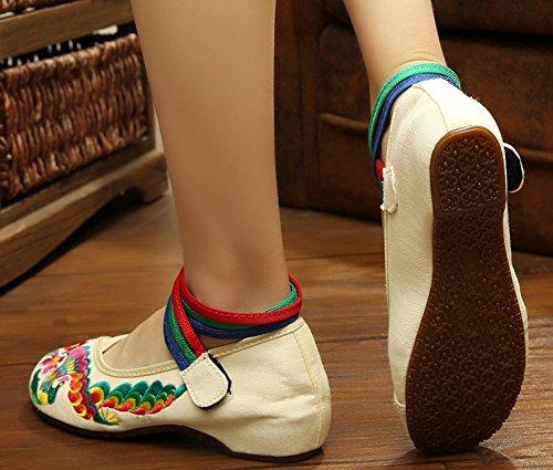 Attraversamento Scarpe Ricamato Mano Icegrey Caviglia Basse Piatte A Donna Ballerine Beige Scarpe wRRqUYS
