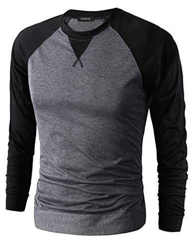 Nidicus Casual Long Sleeve Raglan Baseball Crewneck Jersey Slim Fit T Shirt DarkGray S ()