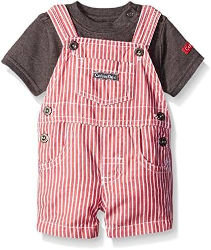Calvin Klein Baby Boys' Interlock Top with Woven Shortall