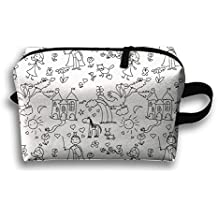 Too Suffering Hand Drawn Style Childish Doodle Travel Bag Multifunction Portable Toiletry Bag Organizer Storage