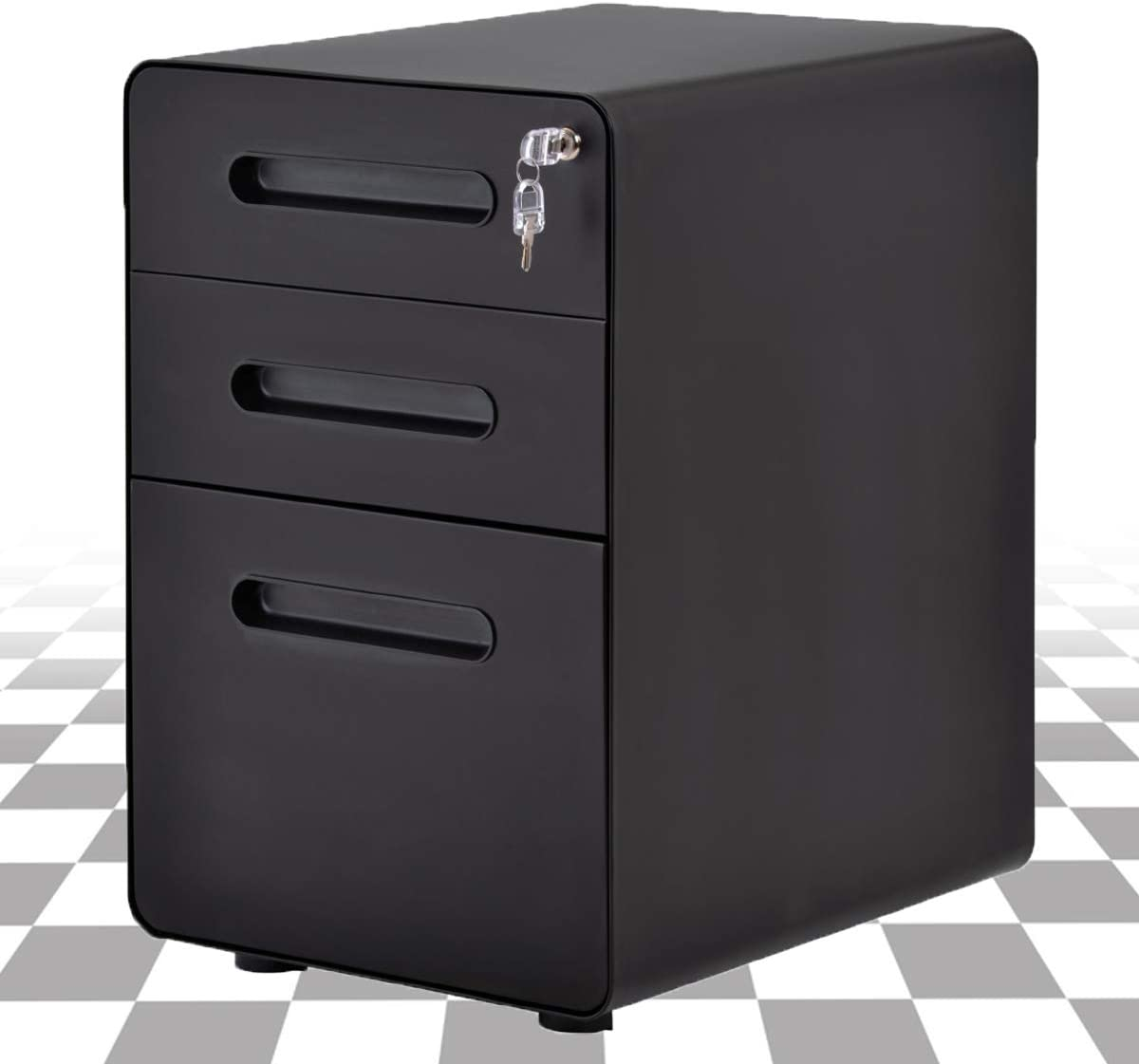 Mobile File Cabinet with Key Lock Steel Filing Cabinet, Home Office Pedestal Fully Assembled Except 5 Rolling Casters