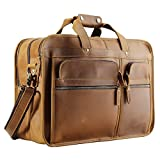 Polare Men's 17'' Full Grain Leather Messenger Bag for Laptop Briefcase Tote
