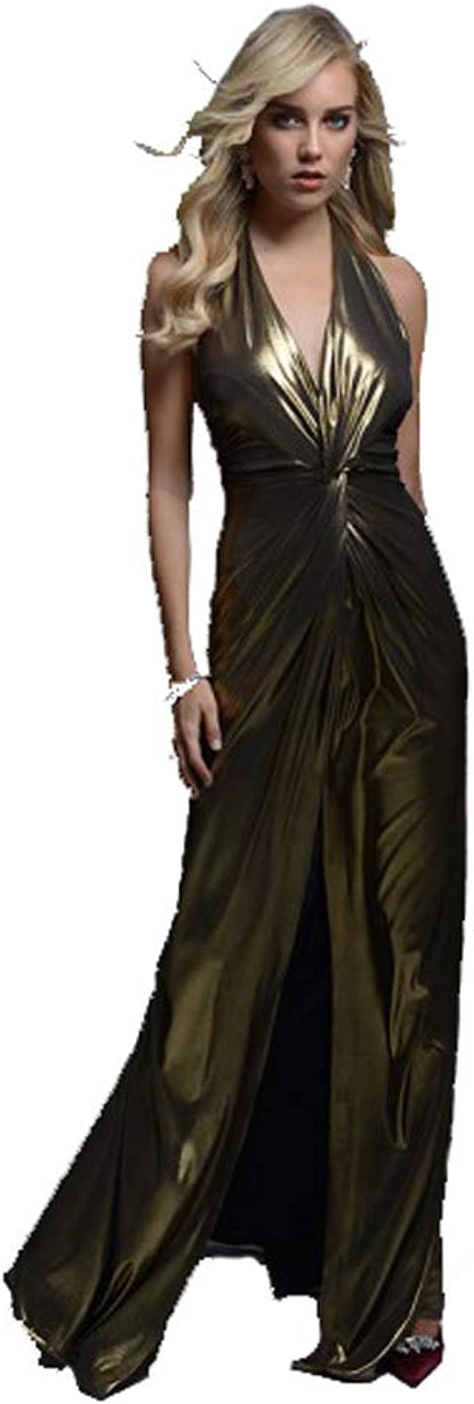 WEDDINESS Langes Kleid mit Metalware, vergoldet, Modell SENSIL