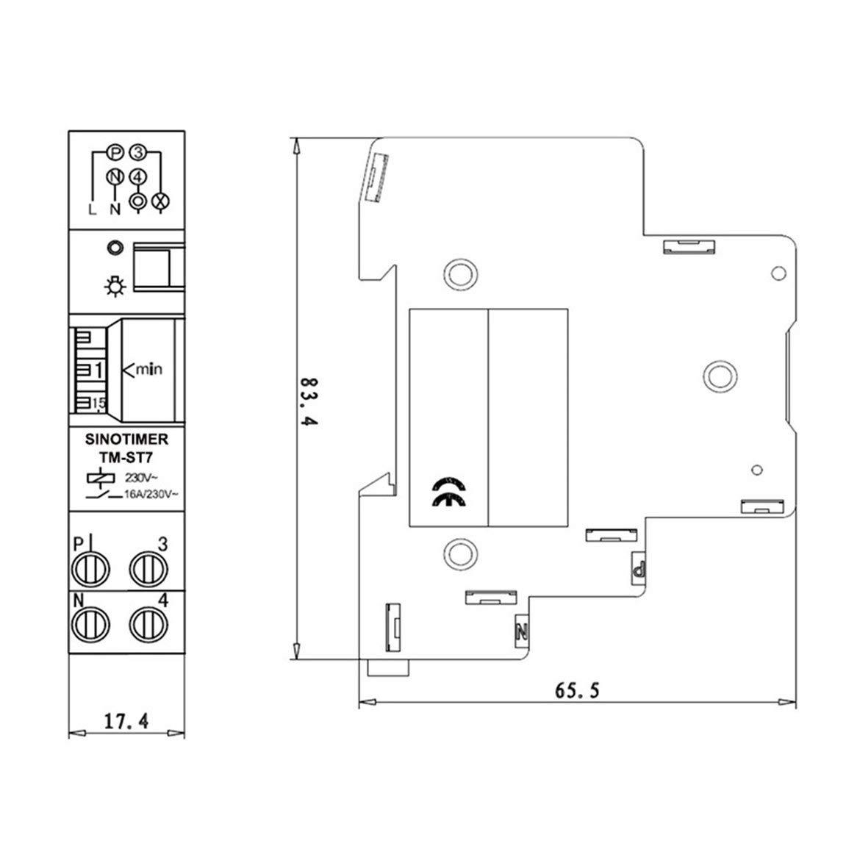 Blanco SINOTIMER TM-ST7 220V 7 Minutos Temporizador mec/ánico 18mm M/ódulo individual Temporizador de escalera de carril DIN Instrumentos de interruptor de tiempo