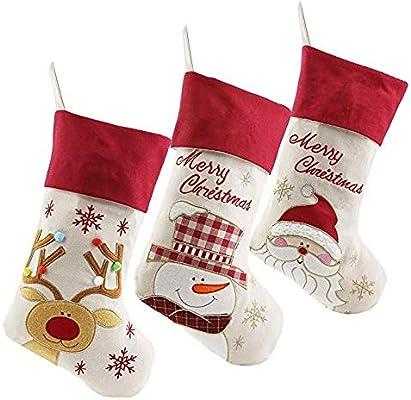 Set of 3 Lovely Christmas Stockings for Children Kids Santa ...