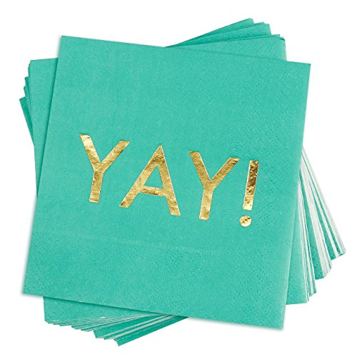 50 Pack Cocktail Napkins - Gold Foil YAY Disposable Paper Party Napkins, Perfect for Birthday and Bachelorette Party Supplies, Baby and Bridal Shower Decorations, 5 x 5 Inches Folded, Teal Green