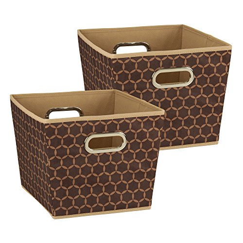 Bins Brown (Household Essentials 98 Medium Tapered Decorative Storage Bins | 2 Pack Set Cubby Baskets | Brown with Mocha Pattern)