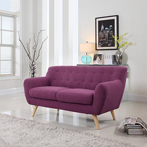 Mid-Century Modern Linen Fabric Sofa, Loveseat in Color Purple (Loveseat)