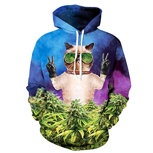 Cayyon 3D Printing Hoodie Women and Men Lovers Cannabis leaves Cat Long Sleeve Hat Clothes L/XL