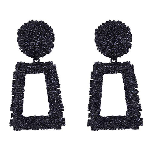 ATIMIGO Statement Drop Earrings Black Large Metal Geometric Dangle Earrings for Women Girls