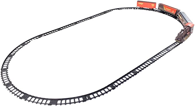 Little Treasures Locomotive Train Set Toy with Carts/Engine/Rail Tracks for Your Kid to Assemble