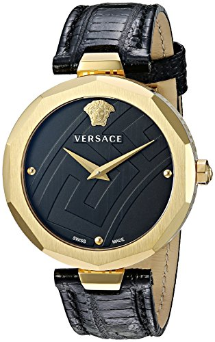 Versace-Womens-Idyia-Swiss-Quartz-Stainless-Steel-and-Leather-Casual-Watch-ColorBlack-Model-V17020017