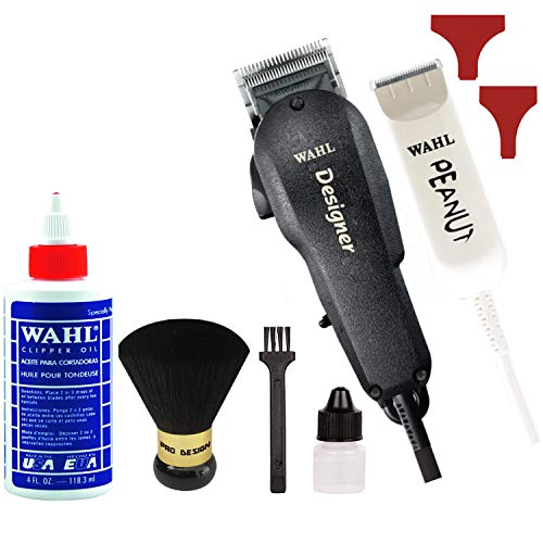 Wahl Professional All Star Clipper/Trimmer Combo #8331 Features Designer Clip and Peanut Trimmer Includes Accessories ... (Onyx)