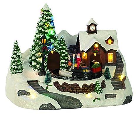 2c59f96c471 Navidad PUEBLO Escena de pilas Giratorio Tren Iluminación Árboles   Amazon.es  Hogar