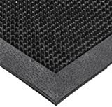 NoTrax T28 SBR Rubber Finger Scrape Entrance Mat, for Wet and Dry Areas, 28'' Width x 46'' Length x 3/8'' Thickness, Black