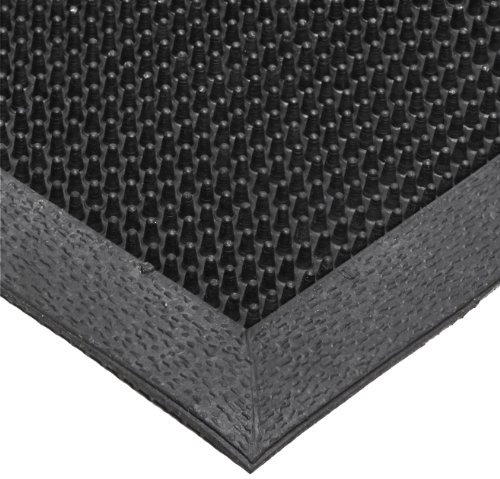 NoTrax T28 SBR Rubber Finger Scrape Entrance Mat, for Wet and Dry Areas, 28'' Width x 46'' Length x 3/8'' Thickness, Black by NoTrax Floor Matting